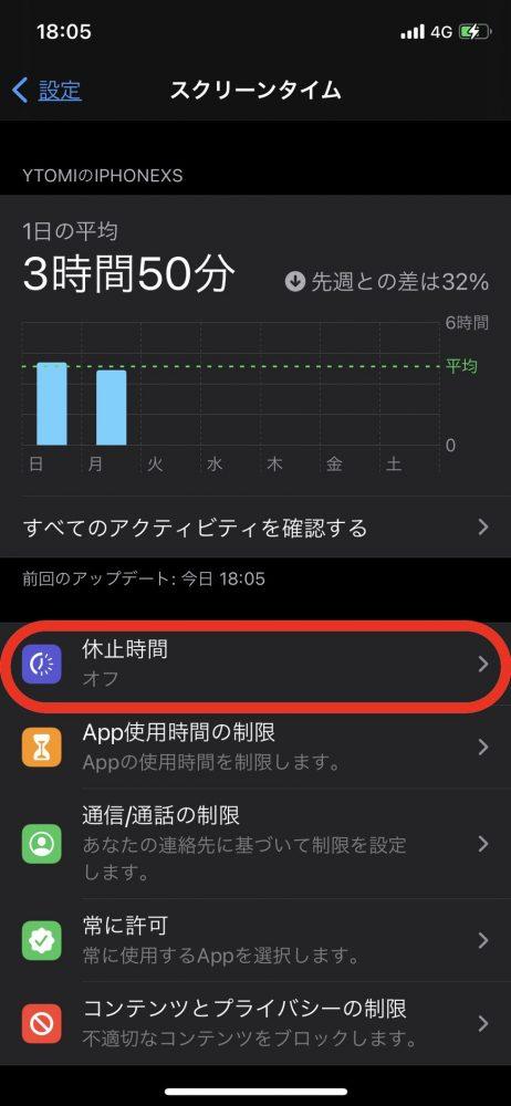 iPhone 休止時間 設定